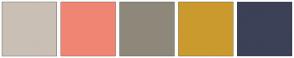 Color Scheme with #CABFB4 #F08574 #8E887A #CB9A2E #3C4157
