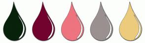 Color Scheme with #08220B #72032F #EE747F #9A9190 #ECCB7C