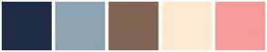 Color Scheme with #1E2C47 #8DA3B2 #816552 #FFE9D1 #F79A9A