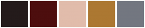 Color Scheme with #241B1B #4D0E0E #E1BCAB #AC7832 #737780
