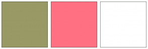 Color Scheme with #999966 #FF7182 #FFFFFF