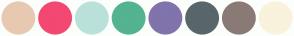 Color Scheme with #E7C9B1 #F34871 #BAE1DA #54B390 #8173AB #58666B #8A7A75 #F9F2DC