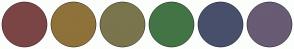Color Scheme with #7B4545 #8E723A #7A754C #437446 #474F6B #685B74