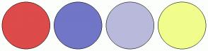 Color Scheme with #DD4B4B #7276C7 #B9BADB #F1FD8C