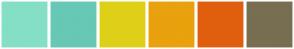 Color Scheme with #85DFC7 #67C8B5 #DED018 #E9A10D #E05F0E #786E51