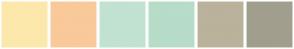 Color Scheme with #FCE8AB #F9C999 #C2E2D1 #B7DCC8 #BAB29B #A19E8D