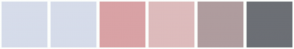 Color Scheme with #D6DCEA #D6DCEA #D9A2A5 #DDBBBC #AF9C9E #6C6F75