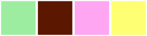 Color Scheme with #9DEDA1 #5C1700 #FFA6F2 #FFFF73