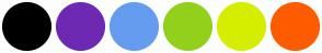 Color Scheme with #000000 #6D29B2 #659CEF #93D01C #D5EE00 #FF5B00