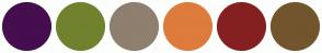 Color Scheme with #450E4F #70822E #8E7F6F #DD7C3C #852020 #72552D