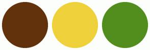 Color Scheme with #62320C #EFD13B #518E1D