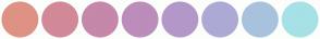 Color Scheme with #DE9283 #D18998 #C587AA #BC8CBB #B397C9 #ADA9D5 #A8C2DE #A5E1E6