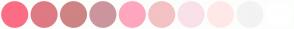 Color Scheme with #FC6C85 #DE7A84 #CE8483 #CC959E #FFA6BF #F4C2C2 #F9E1E9 #FFE9E8 #F3F3F3 #FFFFFF