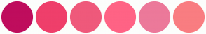 Color Scheme with #BF0D5D #EF3F6B #EF597B #FF6385 #EC799A #F97D81