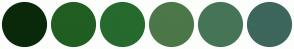 Color Scheme with #0A290A #215E21 #266A2E #4C7748 #457556 #3D665C