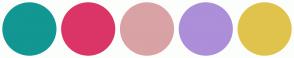Color Scheme with #129793 #DB3568 #D9A2A5 #AC8ED9 #E0C34C