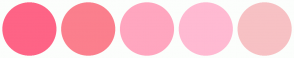 Color Scheme with #FE6486 #FB7F8D #FFA6BF #FFBAD2 #F7C1C4