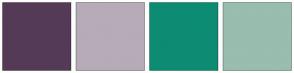 Color Scheme with #553A57 #B7ABB8 #0D8C73 #99BDAE