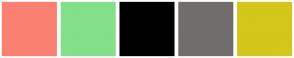 Color Scheme with #FA8072 #83DF8A #000000 #726D6D #D4C61B