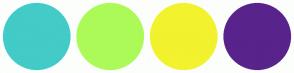 Color Scheme with #43CBC7 #ACFA58 #F2F22E #59238C
