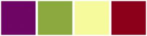 Color Scheme with #6F0564 #8CA93E #F6FA9C #8C001A
