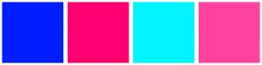 Color Scheme with #001EFF #FF0071 #00F4FF #FF429E