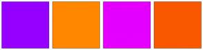 Color Scheme with #9600FF #FF8700 #E500FF #F95800