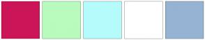 Color Scheme with #CC1559 #B8FBBD #B6FBFB #FFFFFF #96B3D3