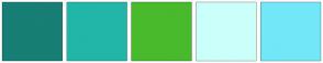 Color Scheme with #177F75 #21B6A8 #49BA2C #CBFFFA #72E7F8