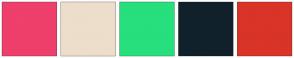 Color Scheme with #EF3F6B #EDDDCB #27DF7C #10212C #D93427