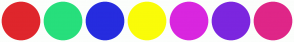 Color Scheme with #DF262C #27DF7C #262CDF #FAFC08 #D926DF #7C26DF #DF2688