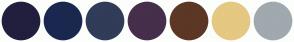 Color Scheme with #221F3E #1A284F #313C58 #462F4B #5C3725 #E5C882 #A0A9AE