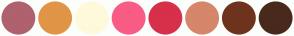 Color Scheme with #AF616E #E19546 #FEF9DA #F95C84 #D7304A #D5866B #6E331D #48291C