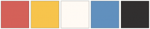 Color Scheme with #D46159 #F7C44C #FFFAF4 #6190BE #312F2F