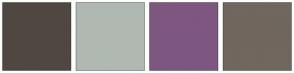 Color Scheme with #4F4842 #B0B8B2 #7D5780 #70675F