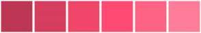 Color Scheme with #BD3754 #D63E5F #F0466A #FF4A71 #FF6385 #FF7D99
