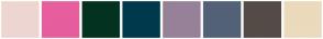 Color Scheme with #EDD6D1 #E65E9D #033320 #00394C #978199 #536178 #544B47 #EBDABC