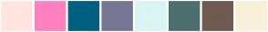 Color Scheme with #FFE6E0 #FF80BF #006080 #767694 #DAF5F3 #4B706E #6E5A51 #F9F0DA