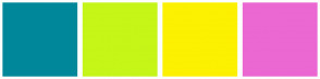 Color Scheme with #00889A #C5F618 #FCF100 #EB68D2