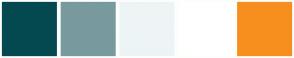 Color Scheme with #054950 #789A9F #EDF4F5 #FFFFFF #F78F1E