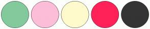 Color Scheme with #82CA9C #FCBDD8 #FFFACD #FF2259 #343434