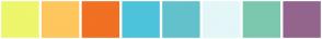 Color Scheme with #EEF66C #FFC65D #F17022 #4CC3D9 #62C2CC #E4F6F8 #7BC8AF #93648D