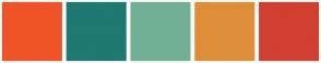 Color Scheme with #EF5428 #1F7872 #72B095 #DE8E38 #D13F31