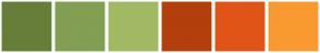 Color Scheme with #677E39 #829F53 #A2B964 #B33F0D #E15417 #F99931