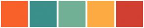 Color Scheme with #F8612A #3C8F8A #72B095 #FCAB43 #D13F31