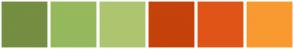Color Scheme with #758E41 #95B95C #AEC56F #C5420A #E15417 #F99931
