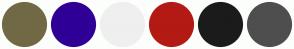 Color Scheme with #716945 #300096 #EFEFEF #B31A14 #1B1B1B #4E4E4E