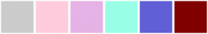 Color Scheme with #CCCCCC #FFCCDD #E5B3E5 #99FFE6 #615FD6 #800000