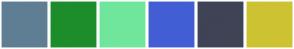Color Scheme with #5F7E94 #1D8D2B #70E69C #435ED4 #3F4355 #CDC332