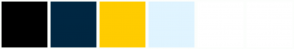 Color Scheme with #000000 #002742 #FFCC00 #C10B6B #E0F4FF #FFFFFF
